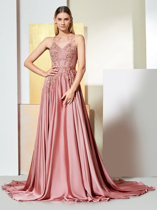 A-Line Appliques Beaded Button Scoop Evening Dress