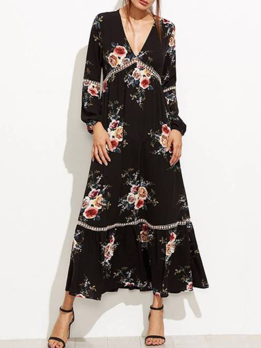 V Neck Floral Women's Maxi Dress