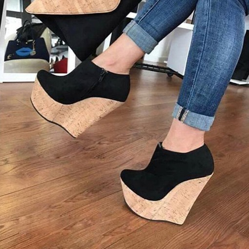 Zipper Platform Round Toe Wedge Pumps