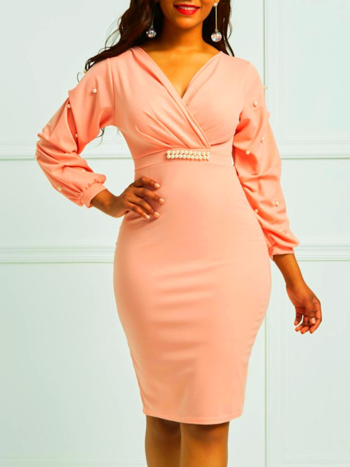 Pink Lantern Sleeve Cotton Blends Bodycon Dress