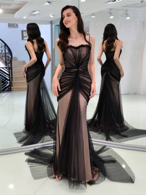 Trumpet Spaghetti Straps Pleats Evening Dress