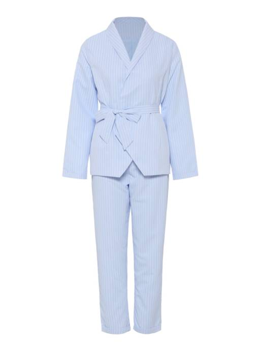 Striped Long Sleeve Blazer and Pants Women's Two Piece Set