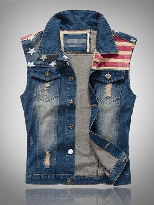 Worn American Flag Slim Men's Denim Vest