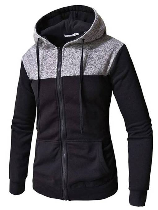 Hooded Patchwork Zipper Men's Hoodie