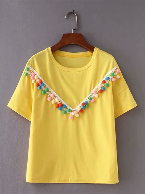 Colorful Ball Decor Round Neck Women's Simple Tee