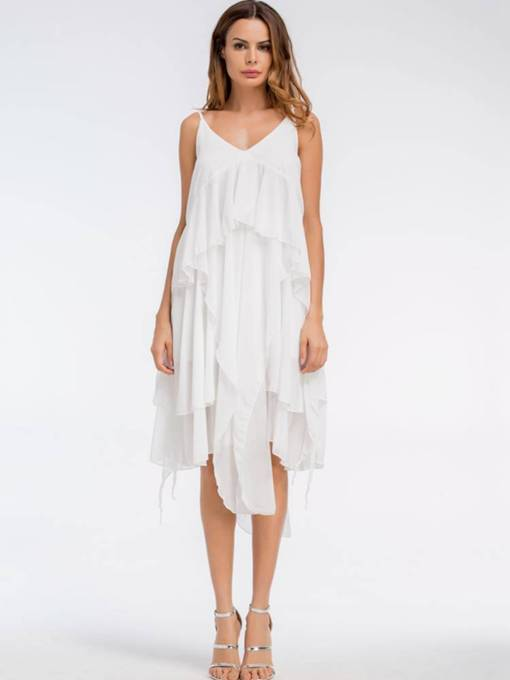 White Strappy Backless Women's Tiered Dress