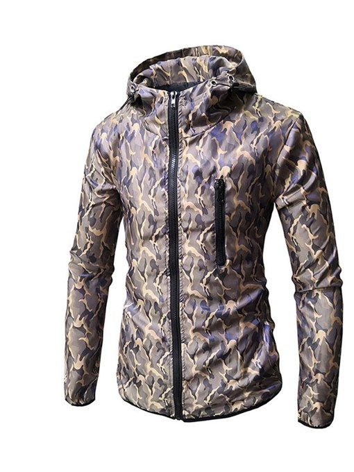Hooded Zipper Print Slim Men's Leisure Jacket