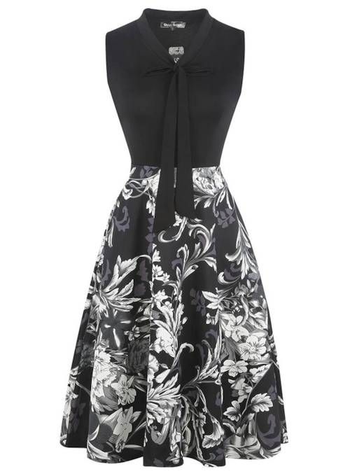 Bow Collar Sleeveless Prints Day Dress