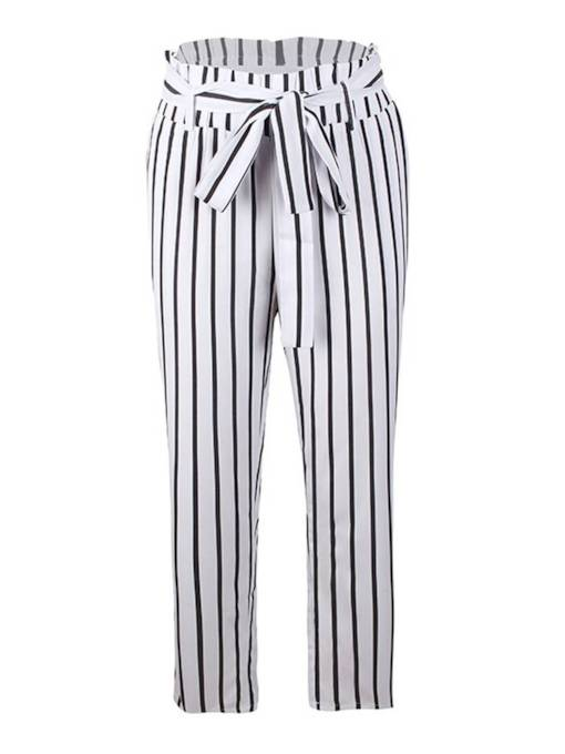 Striped Self Tie Tapered Paper Bag Pants