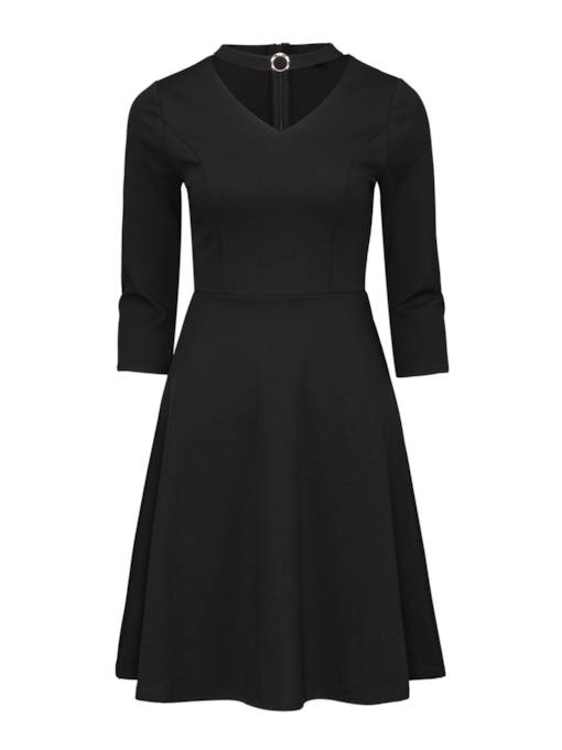 3/4 Sleeve Black Women's Day Dress