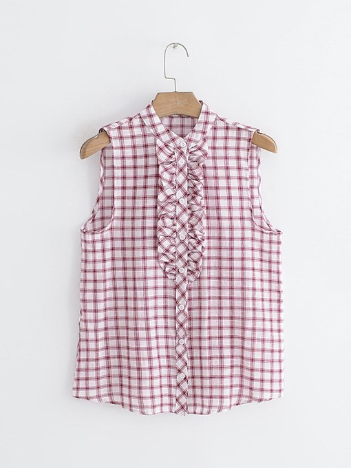 Frill Sleeveless Plaid Button Up Women's Tank Top