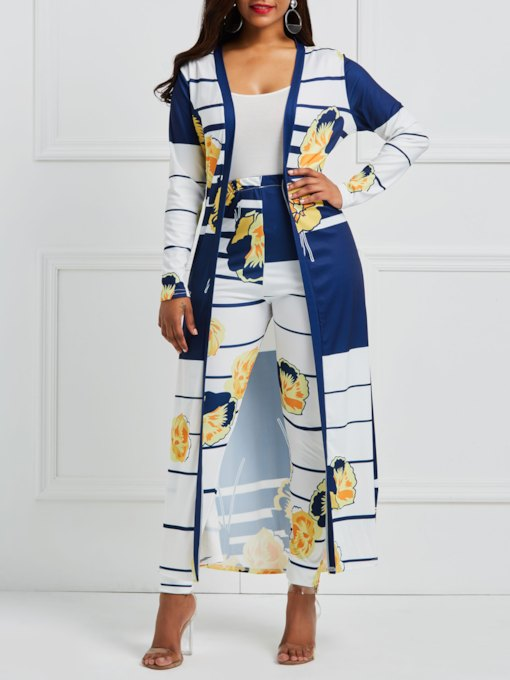 Color Block Digital Print Trench Coat with Pants Women's Two Piece Set(Random Floral Print Position)