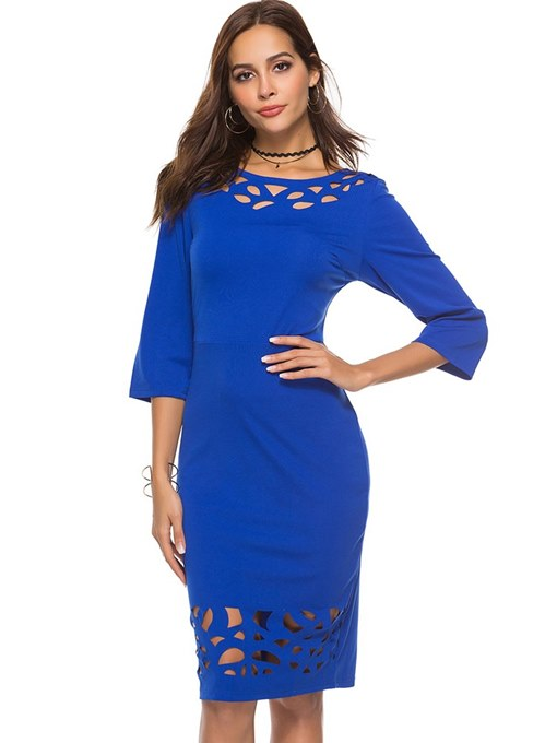 Round Neck Hollow Women's Bodycon Dress