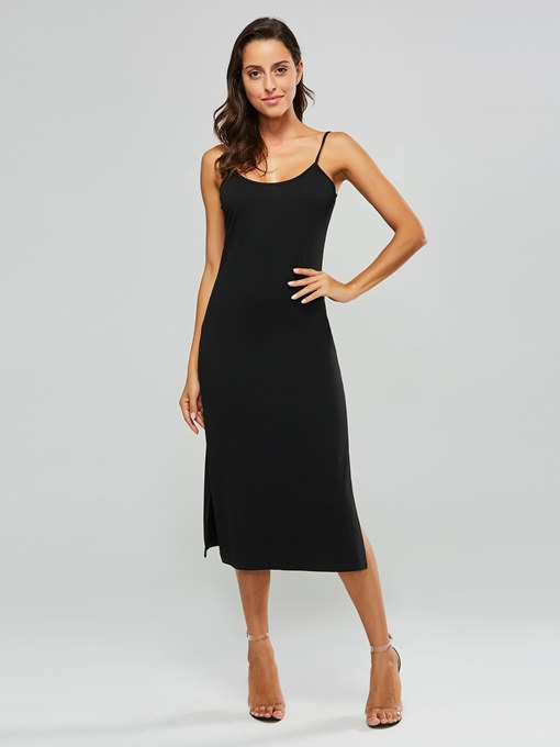 Tassel Neck Sleeveless Plain Day Dress