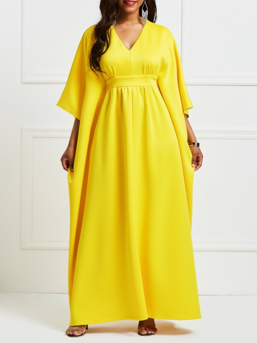 Yellow Cap Shoulder Floor-Length Maxi Dress