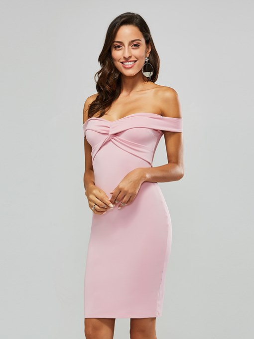 Pink Off Shoulder Women's Bodycon Dress