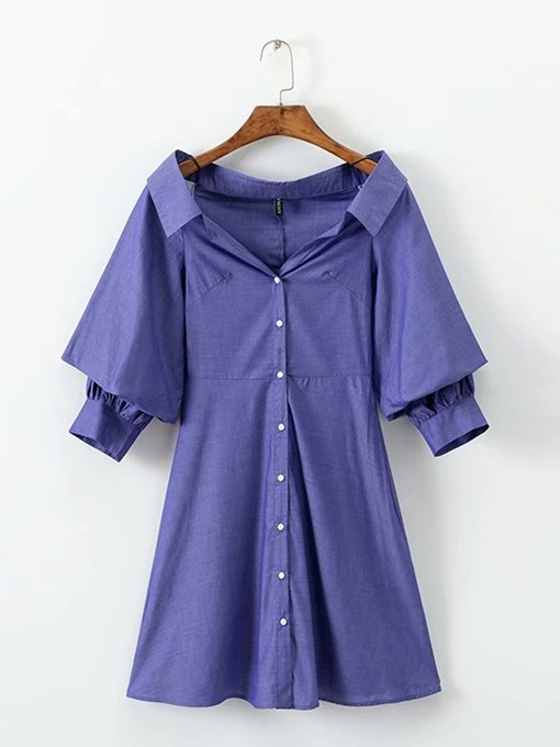3/4Length Sleeve Button Shirt Day Dress