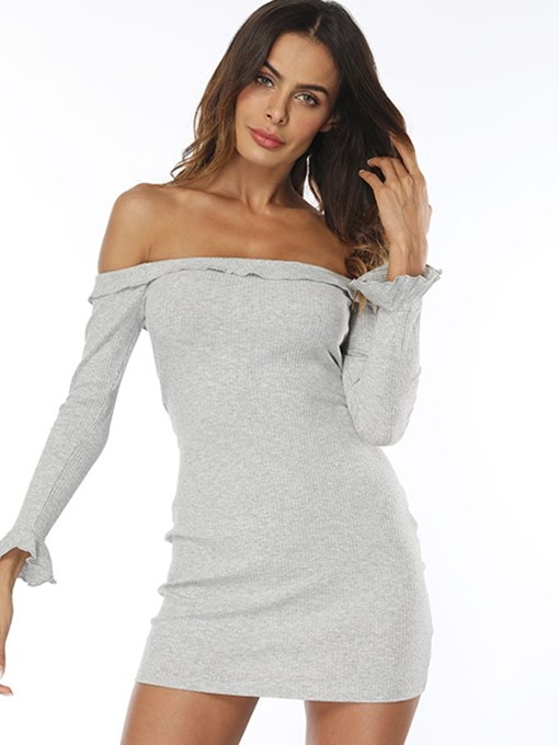 Off Shoulder Gray Women's Bodycon Dress