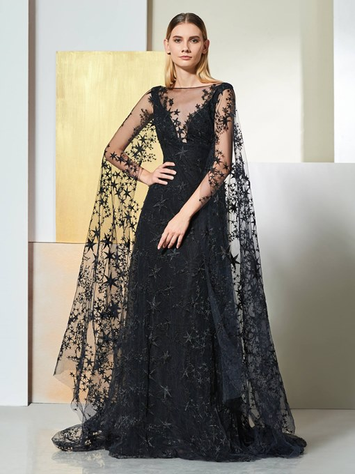 A-Line Lace Bateau Backless Evening Dress