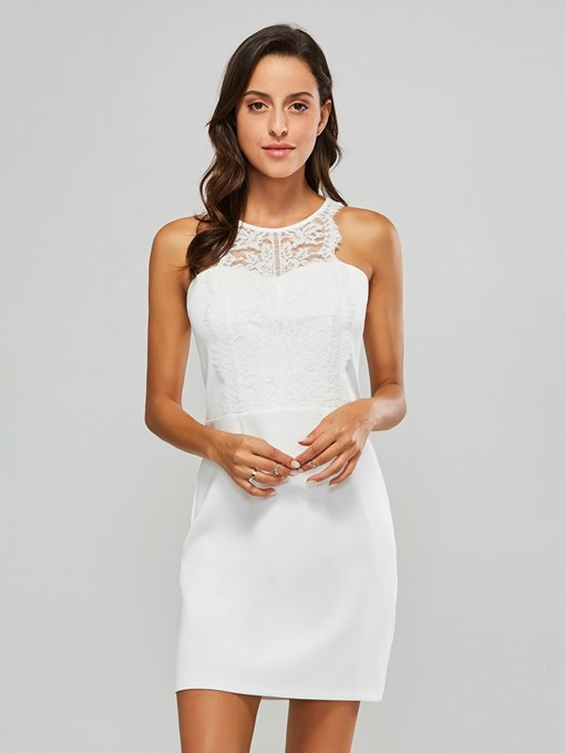 White Sleeveless Lace Neck Elegant Dress