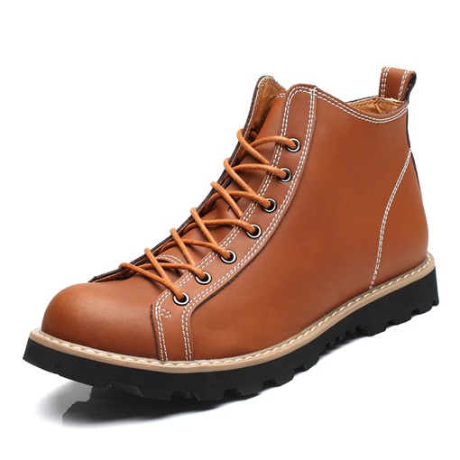 Round Toe Sewing Lace-Up Ankle Martin Boots for Men