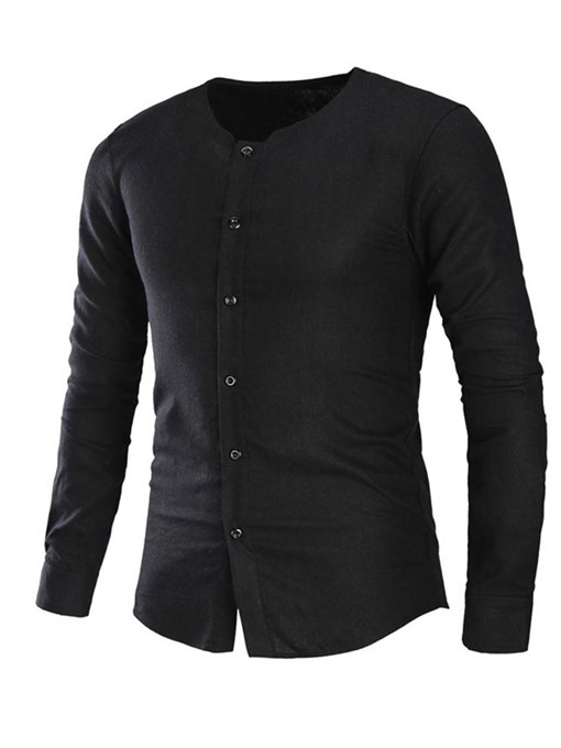 Collarless Linen Cotton Slim Men's Shirt