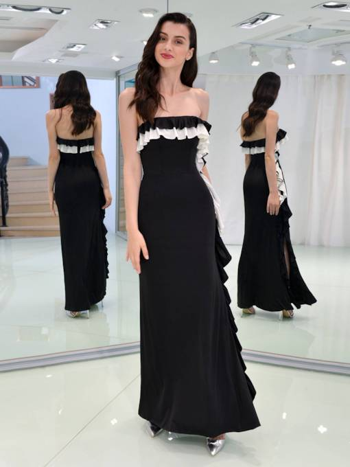 Sheath Strapless Draped Ruched Sashes Evening Dress