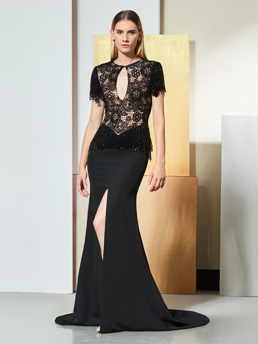 Trumpet Scoop Lace Evening Dress