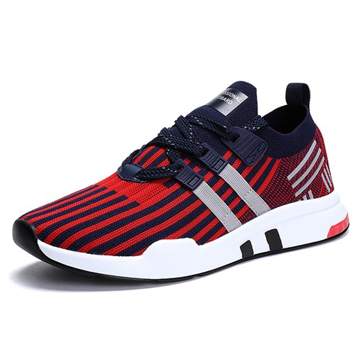 Stripe Lace-Up Mesh Round Toe Men's Trainers