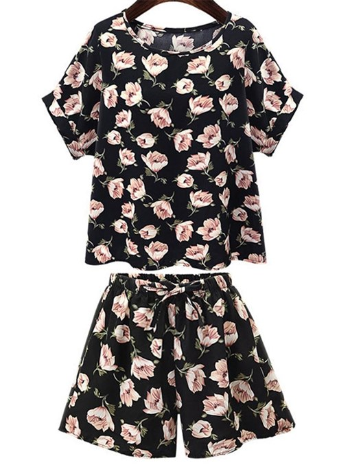 Loose Floral Print Tee and Shorts Women's Two Piece Set
