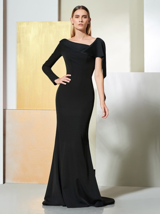 Long Sleeve Mermaid Black Evening Dress