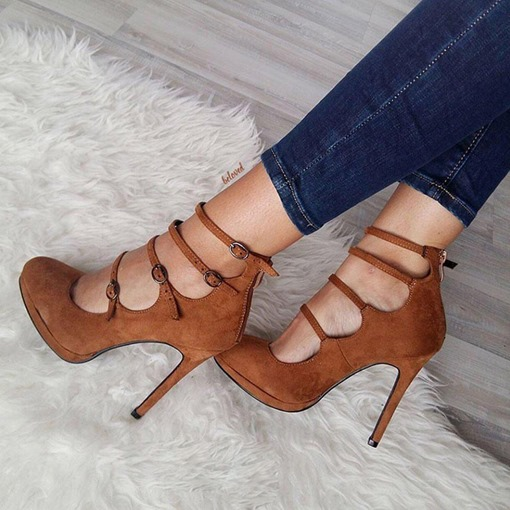 High-Cut Suede Stiletto Heel Zipper Sexy Women's Pumps