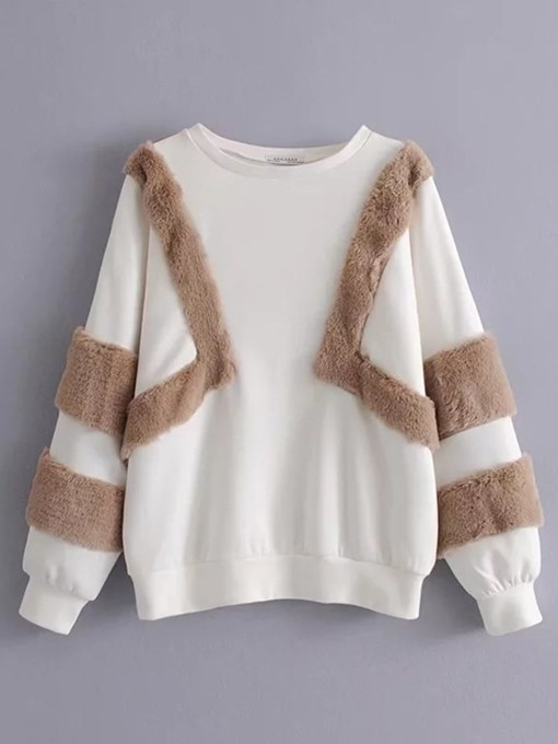 Faux Fur Patchwork Long Sleeve Women's Sweatshirt