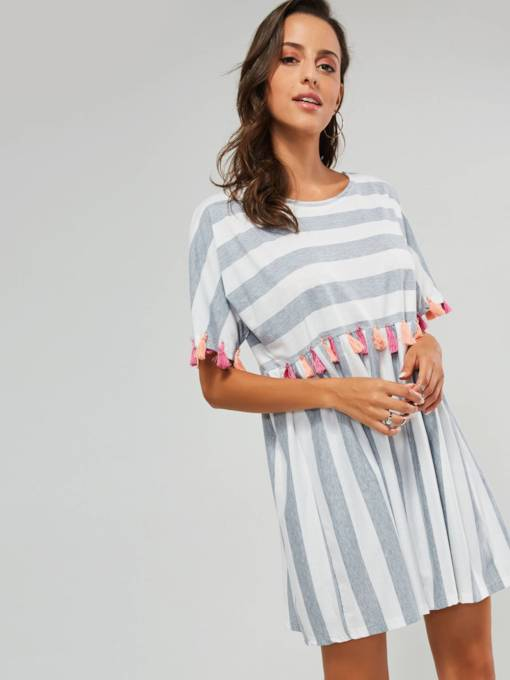 Light Gray Stripes Tassels Women's Day Dress