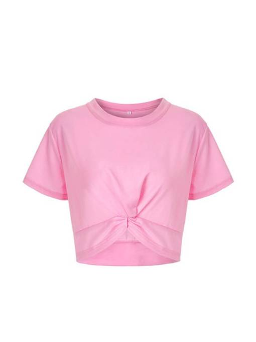 Twist Front Pure Color Women's Cropped Top T-Shirt
