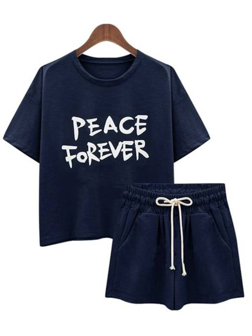 Letter Print Short Sleeve Tee with Elastic Shorts Women's Two Piece Set