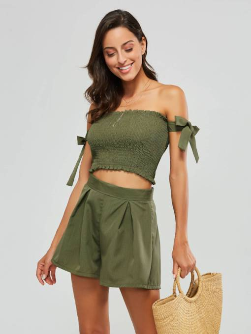 Plain Elastic Lace-Up Crop Top and Shorts Women's Two Piece Set