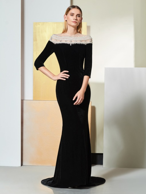 Mermaid Pearls Beaded Half Sleeves Evening Dress