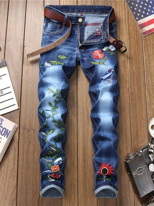 Flower Embroidery Straight Slim Men's Jeans