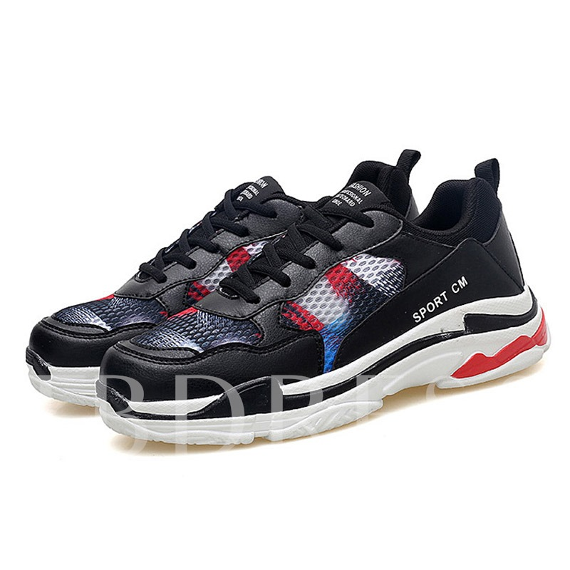 Buy Mesh Lace-Up Color Block Round Toe Chic Men's Sneakers, Spring,Summer,Fall, 13340767 for $39.60 in TBDress store