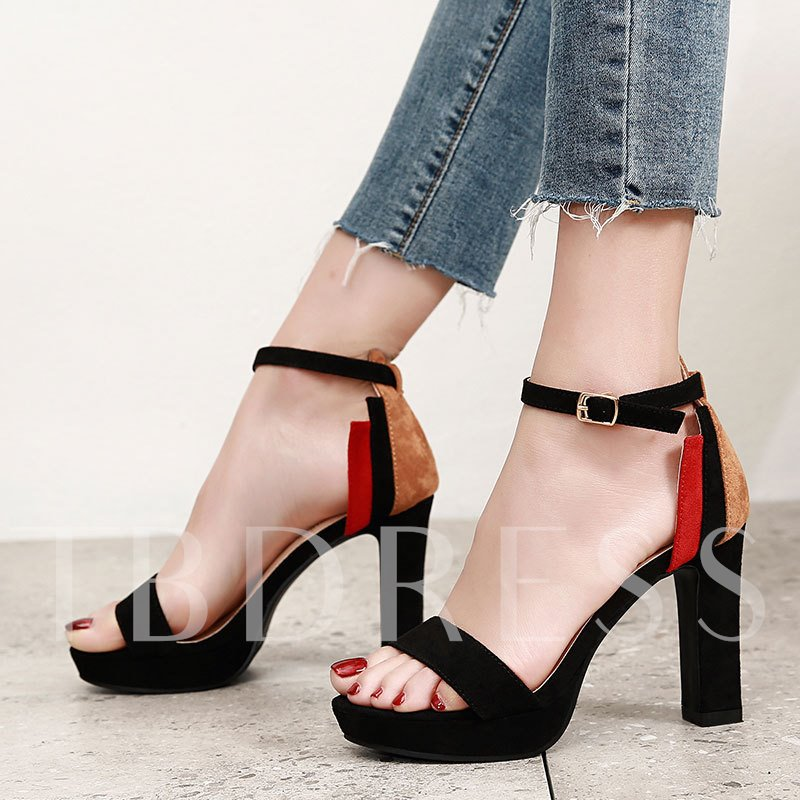 Buy Suede Chunky Heel Color Block Ladylike Women's Sandals, Spring,Summer, 13342480 for $34.80 in TBDress store