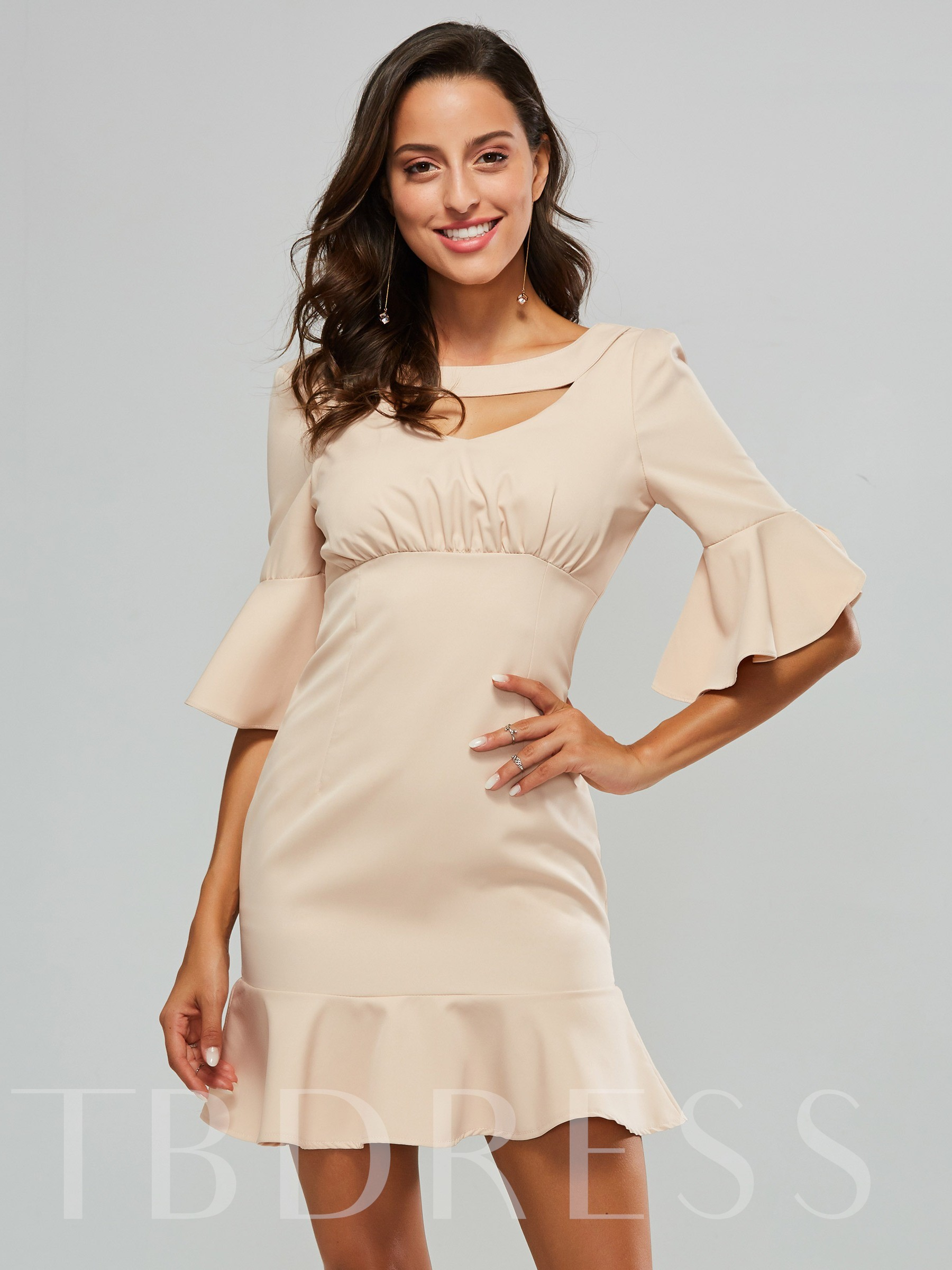 Buy Bell Sleeve Women's Pink Bodycon Dress, Spring,Summer,Fall, 13325312 for $21.11 in TBDress store