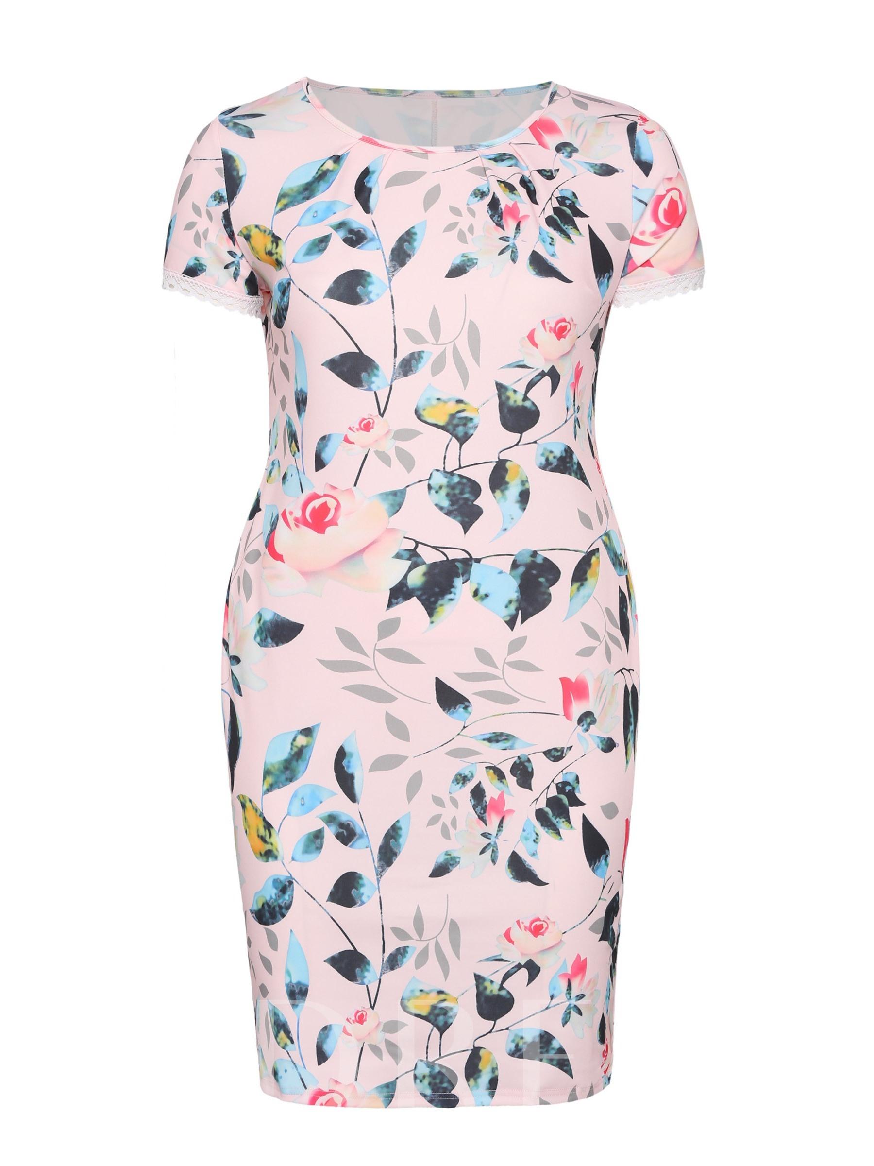 Buy Plus Size Printing Bodycon Floral Dress, Plusee, 13341027 for $14.71 in TBDress store