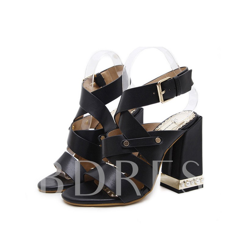 Buy Chunky Heel Open Toe Strappy Buckle Women's Sandals, Spring,Summer, 13340778 for $41.25 in TBDress store
