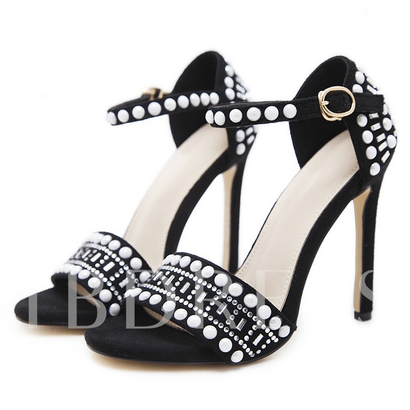 Buy Stiletto Heel Rhinestone Bead Heel Covering Buckle Women's Sandals, Spring,Summer, 13345276 for $45.17 in TBDress store