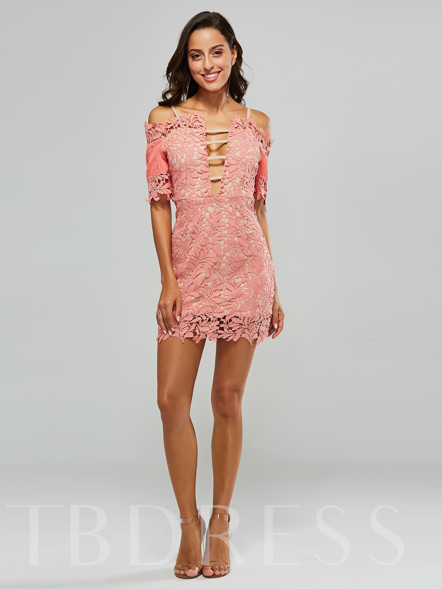 Solid Color Strappy Women's Lace Dress, Spring,Summer,Fall, 13342778