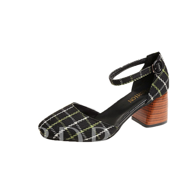 Buy Line-Style Buckle Chunky Heel Square Toe Plaid Pattern Women's Pumps, Spring,Summer,Fall, 13339645 for $30.28 in TBDress store