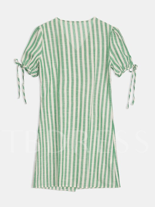 Single-Breasted Green Striped Women's Day Dress