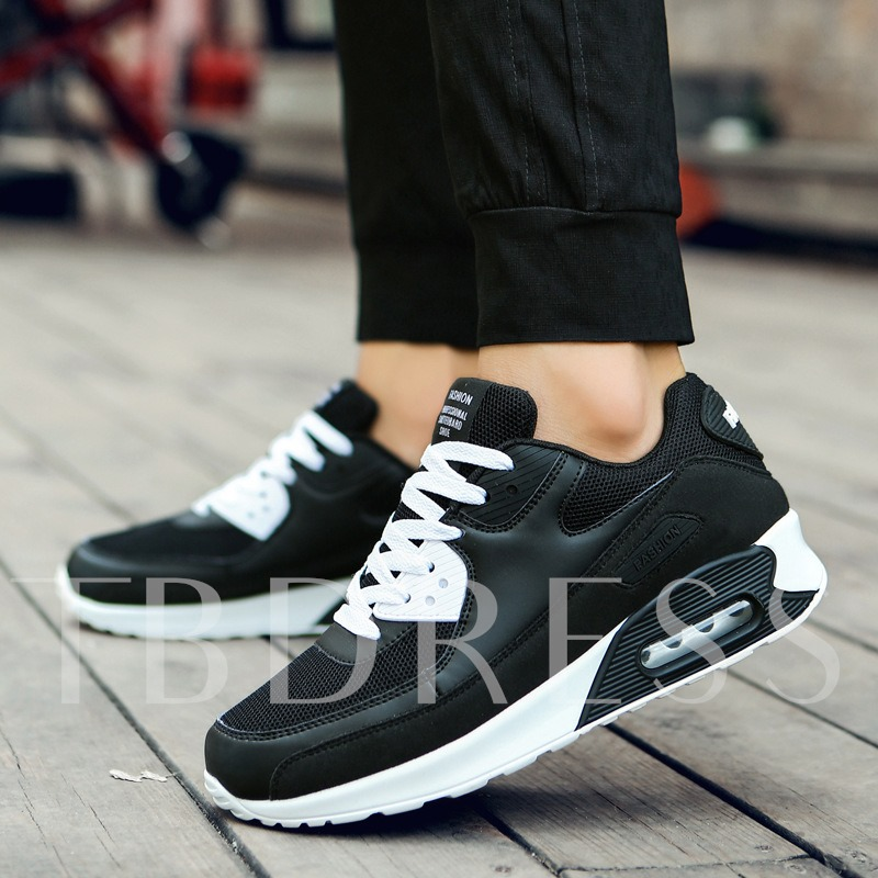 Lace-Up Round Toe Color Block Air-Cushion Shoes for Men
