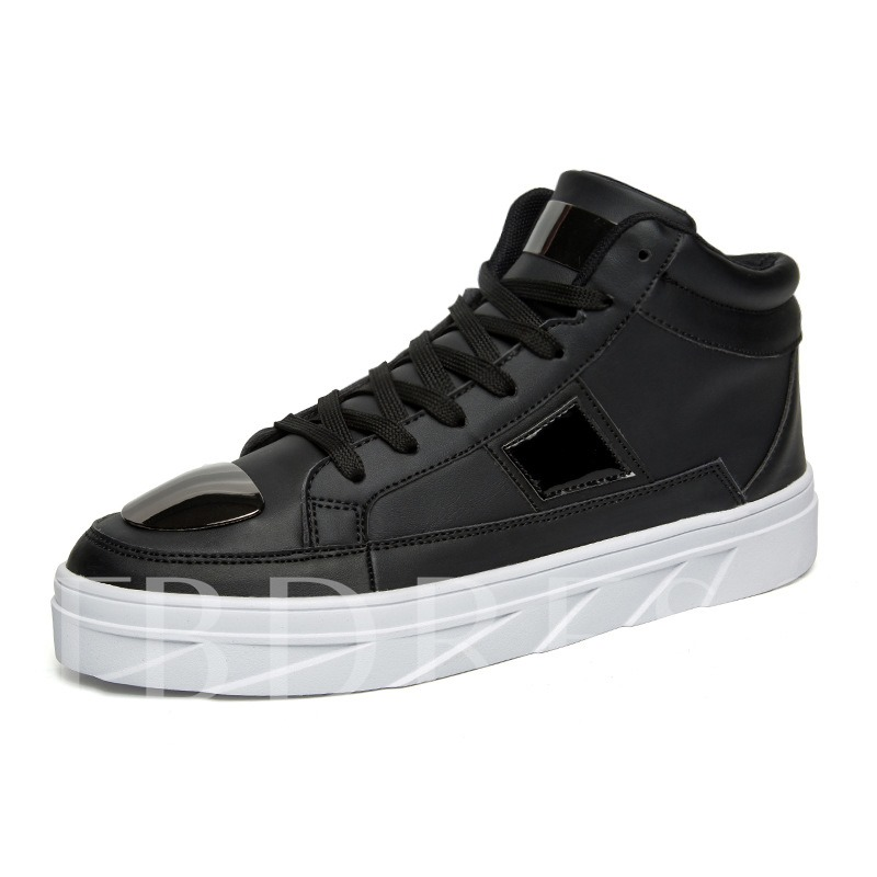 Color Block Round Toe Lace-Up Skateboard Shoes for Men